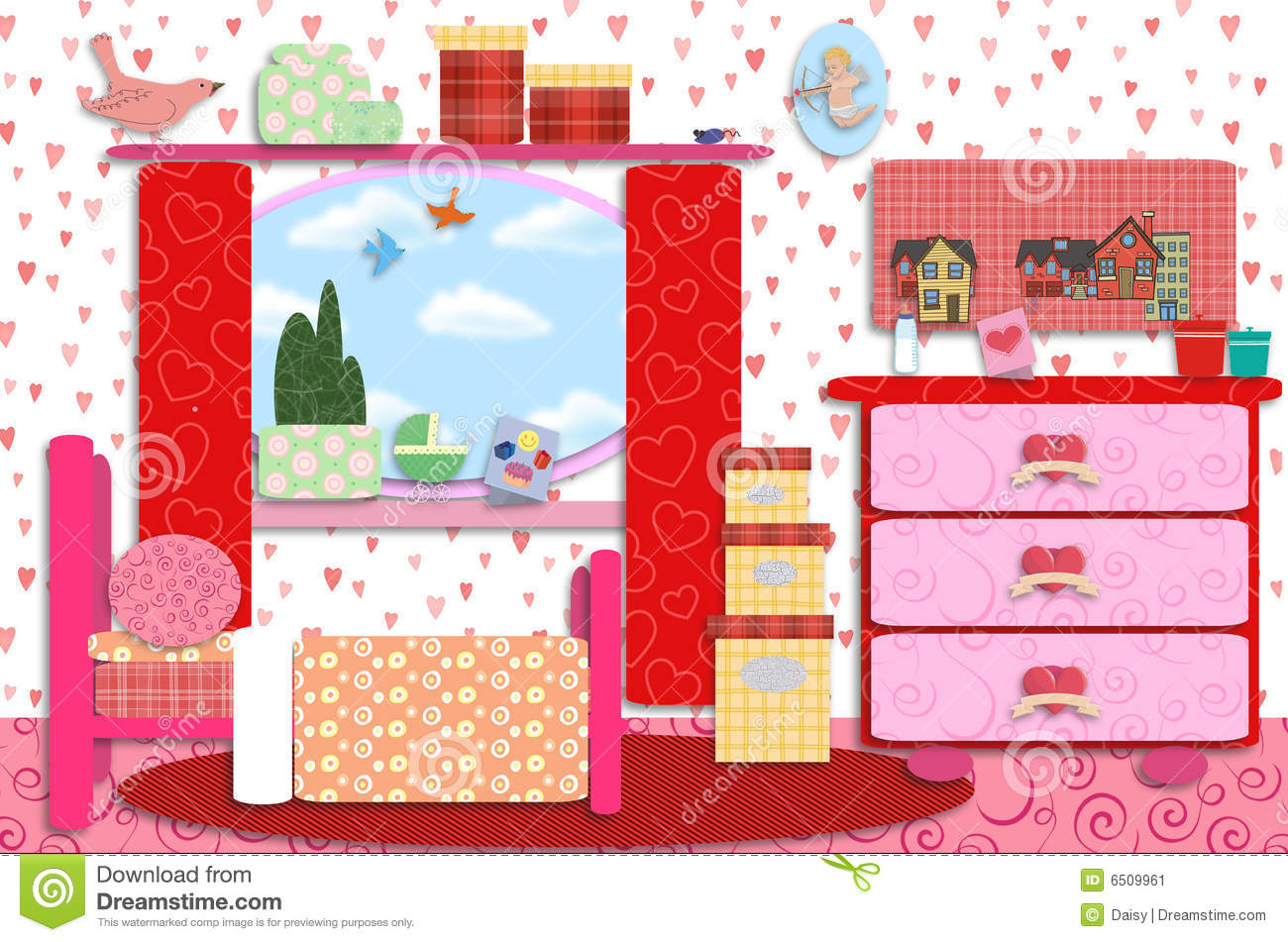 Sweet Baby Girl Wallpaper Free Download Retro Girls Baby Room Stock Image Image 6509961