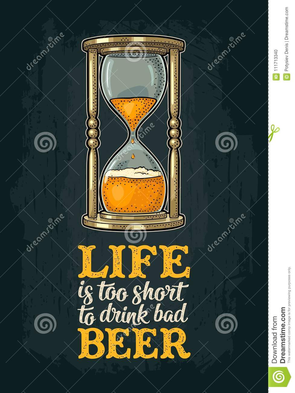 Vintage Bad Retro Hourglass With Beer Vector Vintage Engraving Stock Vector