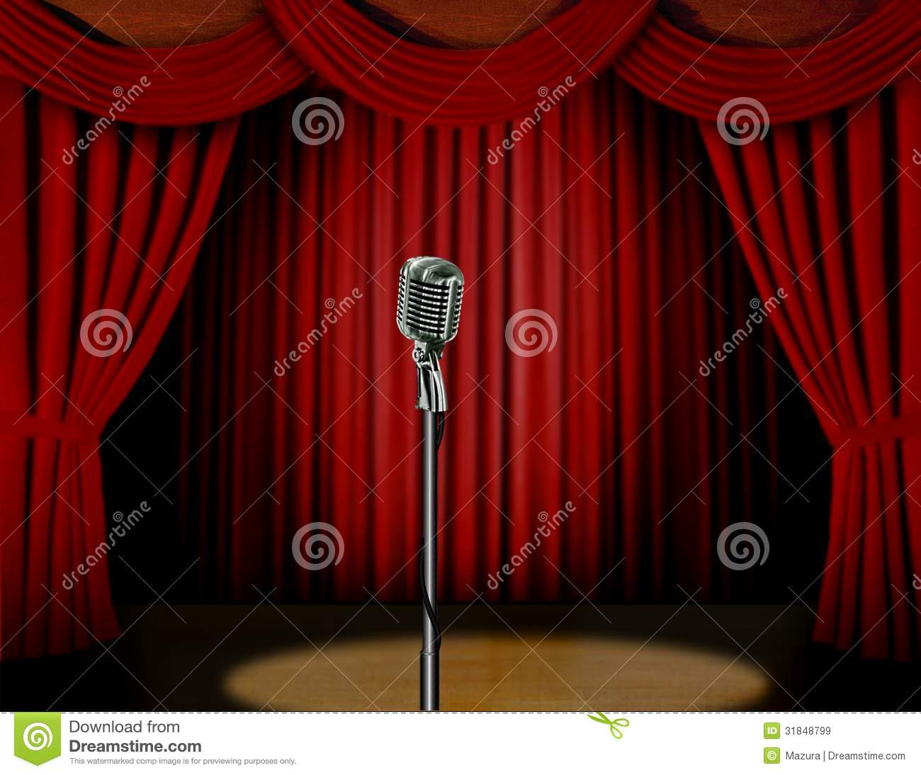 Vorhang Retro Retro Microphone And Red Curtain Royalty Free Stock Images