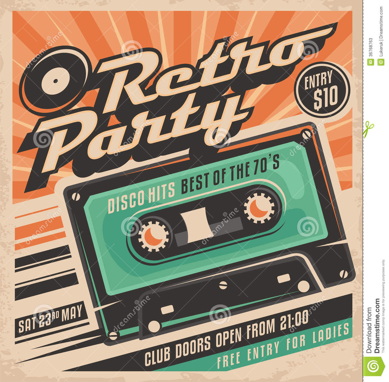 Retro Party Poster Design Template Stock Vector
