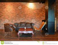 Retro Sofas In Living Room With Decoration In Apartment ...