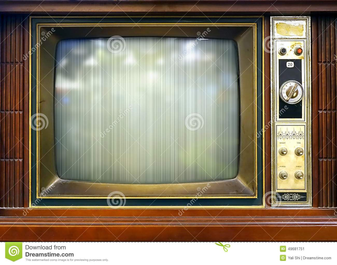 Bad Vintage Style Retro Style Television Set With Bad Picture Stock Image