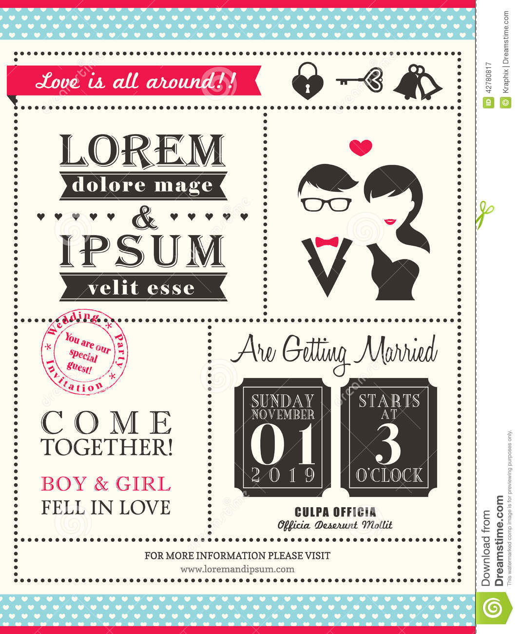 Invitation Card For Wedding Layout Retro Trendy Wedding Invitation Card Template Stock Vector
