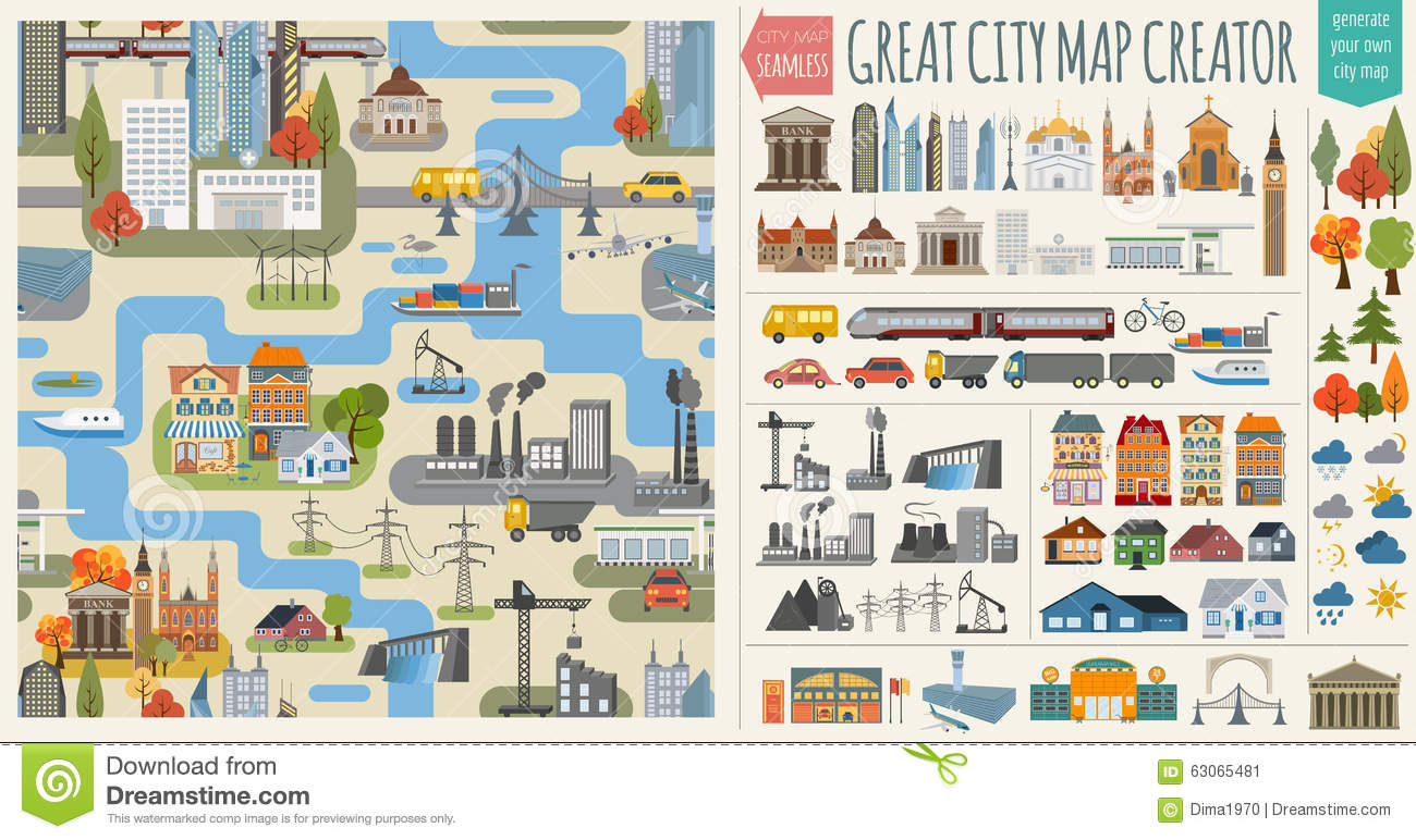City Map Generator Elements For Creating Your Perfect ... City Map Generator on