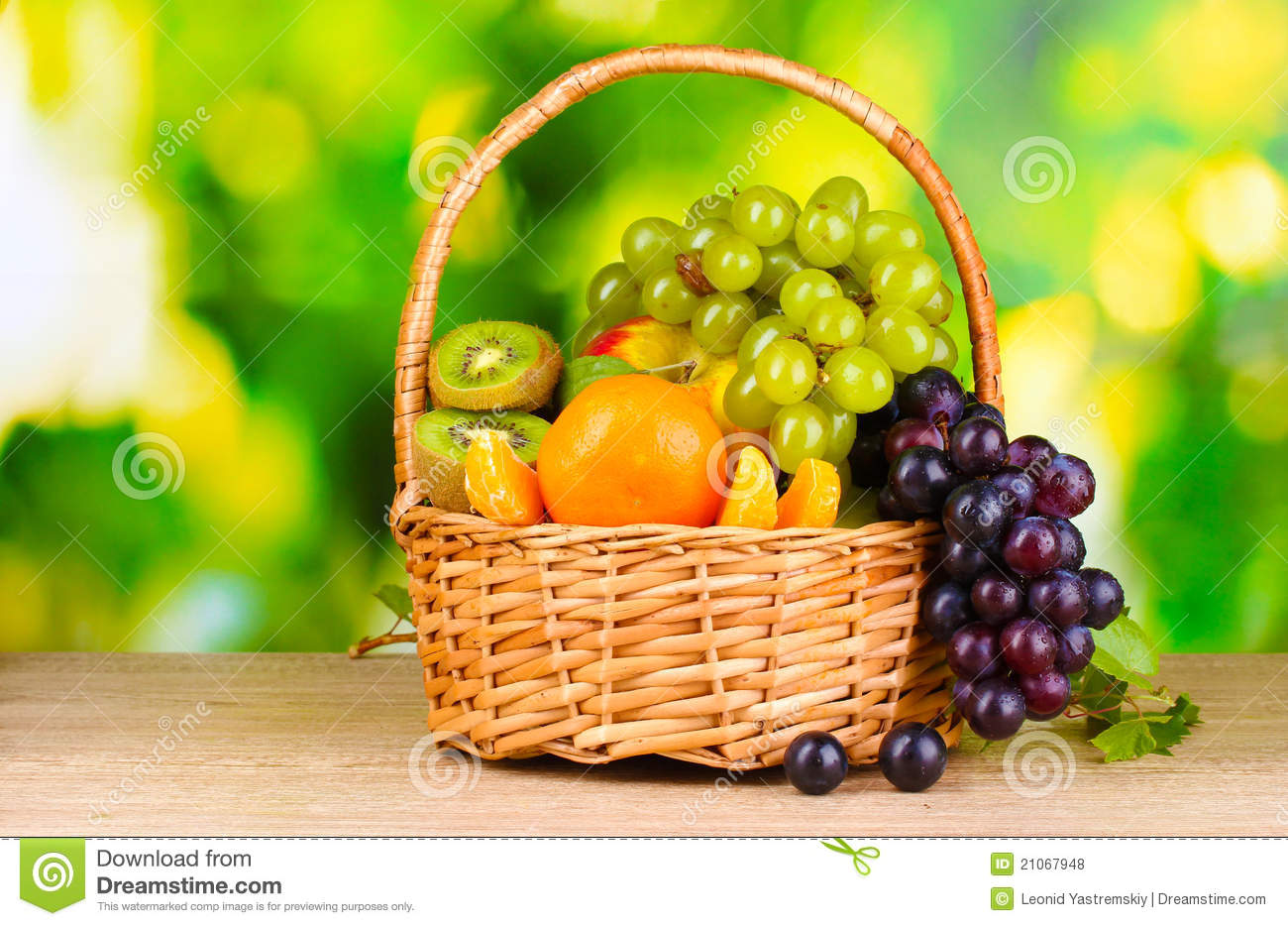 Table Top Fruit Basket Ripe Juicy Fruits In Basket On Wooden Table Royalty Free