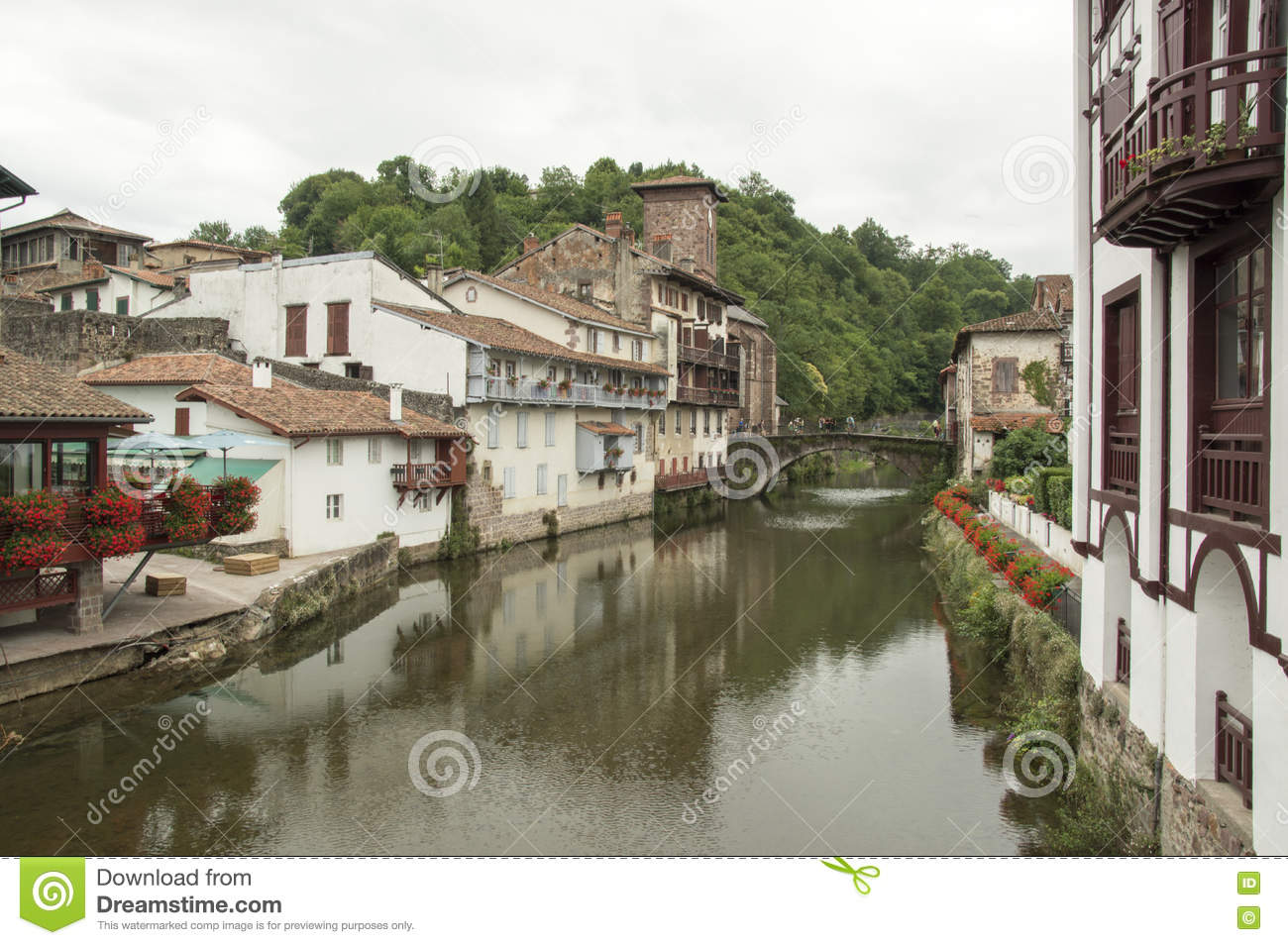 Saint Jean Pied De Port River And Bridge Saint Jean Pied De Port Editorial Photography