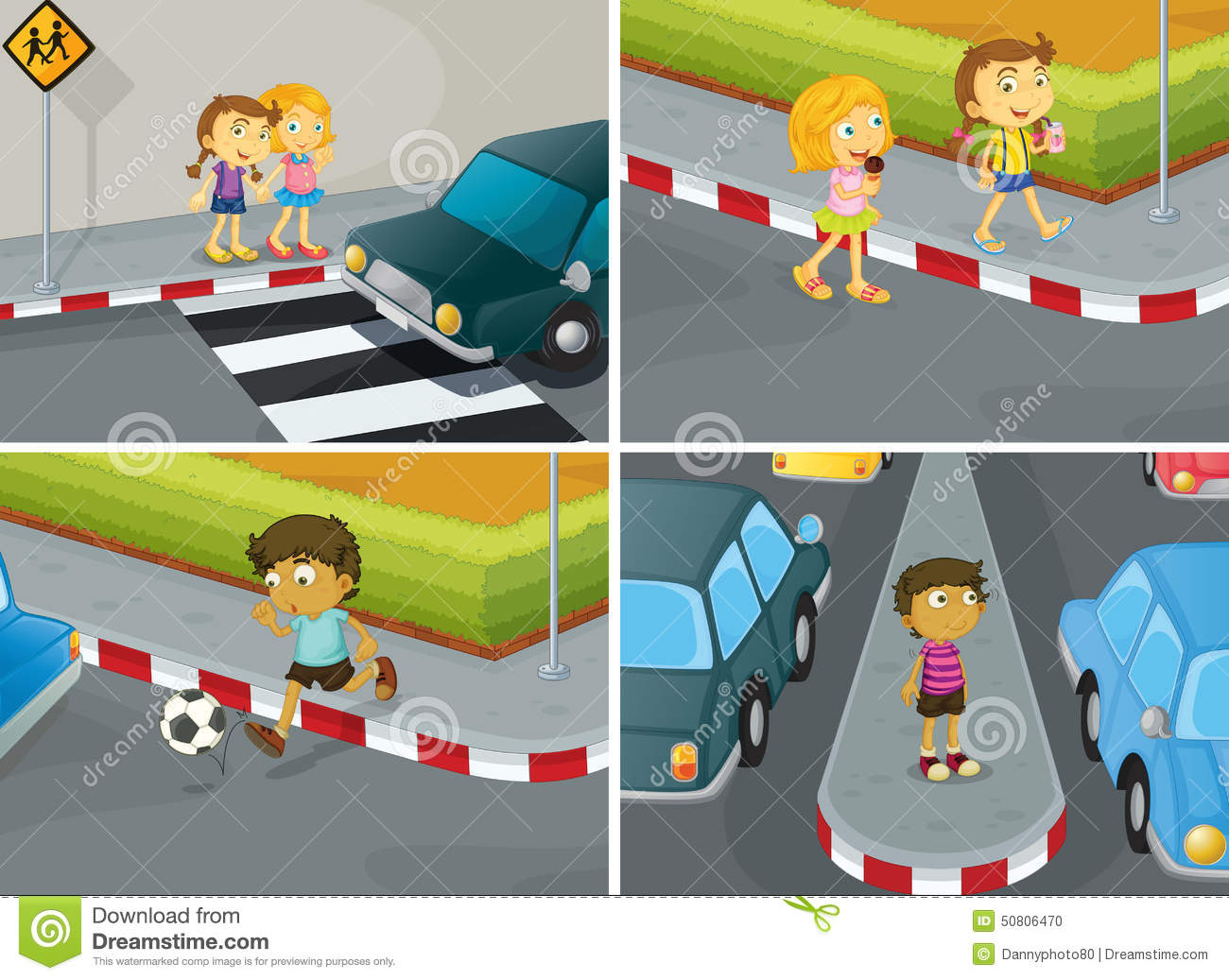Road Crossing Clipart Road Safety Stock Vector Image 50806470