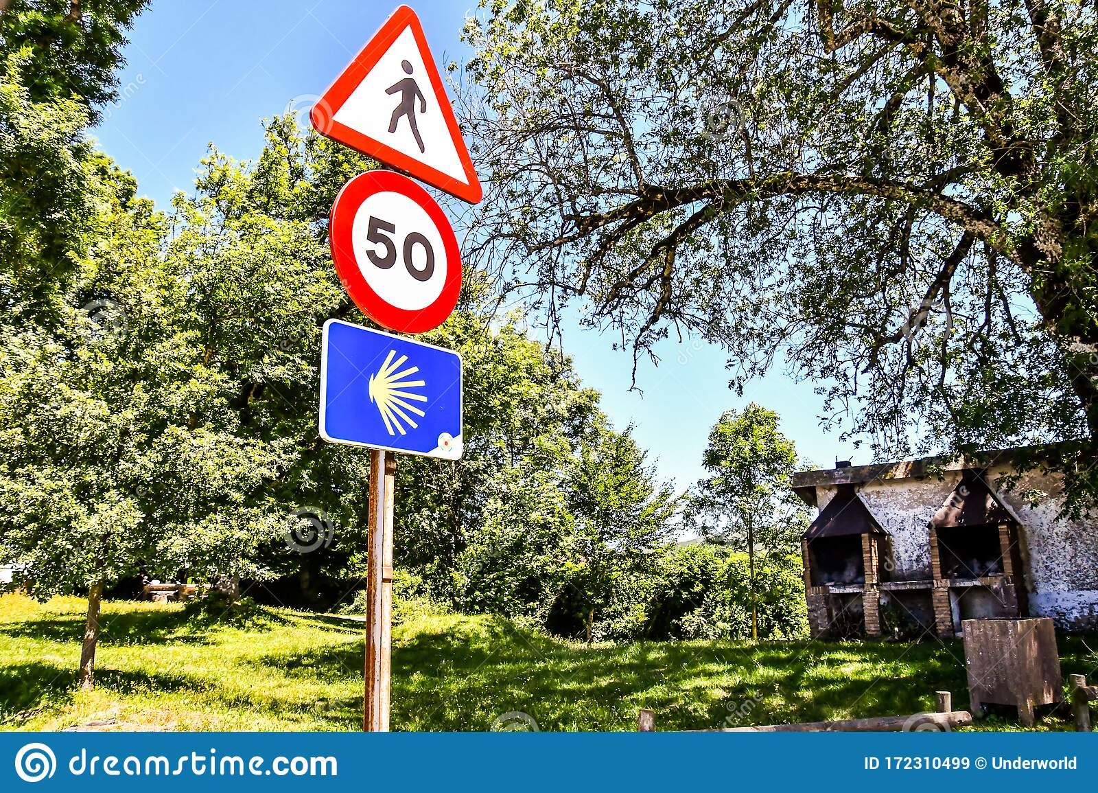 Road Sign In Mountains Camino De Santiago Walk From France To Santiago De Compostela Galicia Spain In Navarra Aragon Zaragoza Stock Image Image Of Traffic Zaragoza 172310499