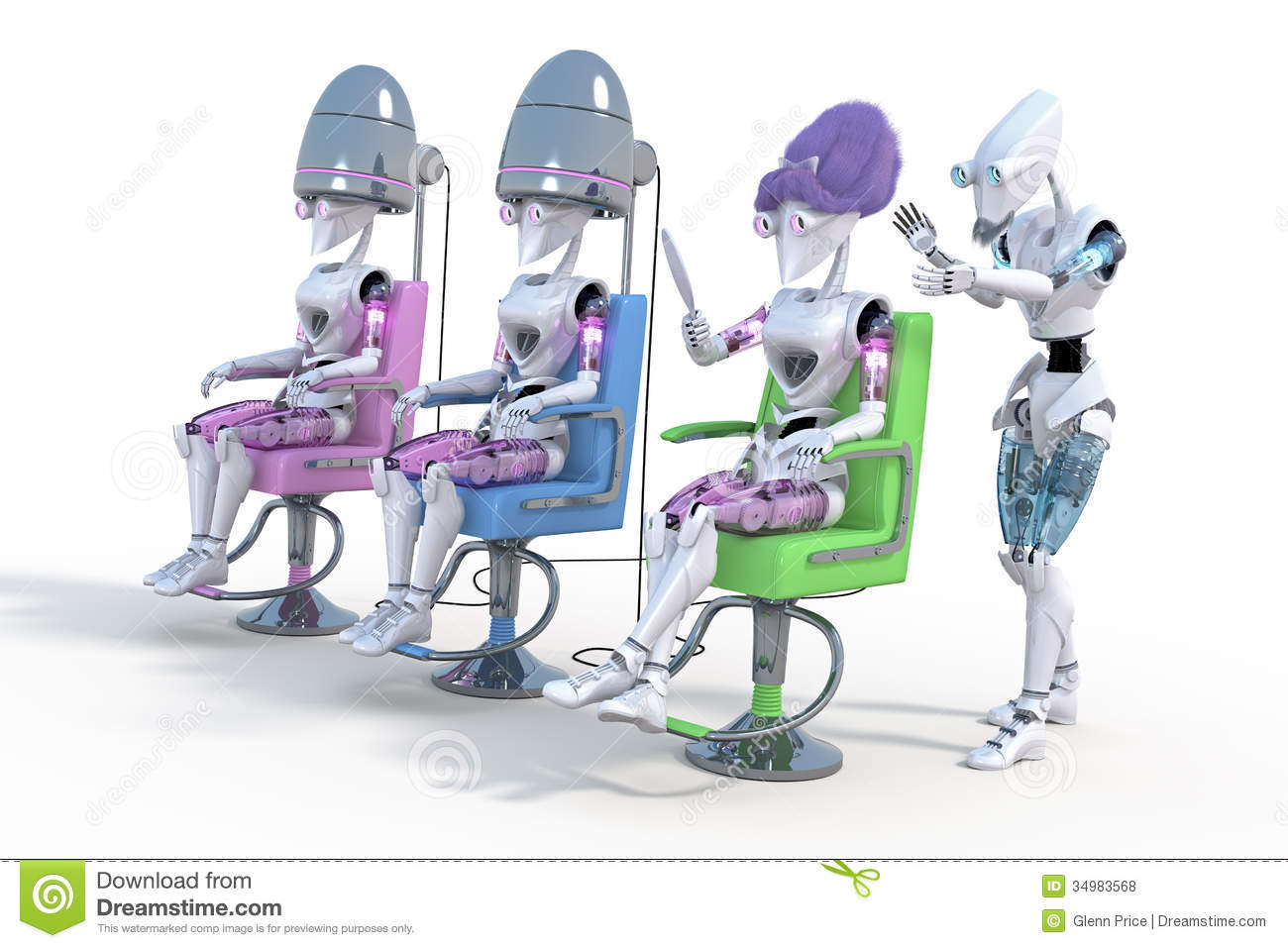 Salon De La Robotique Robot Hair Salon Stock Illustration Illustration Of Fantasy