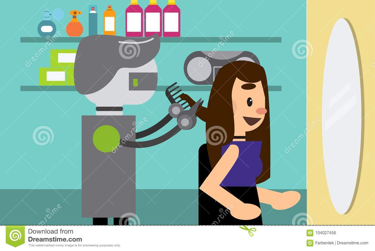 Salon De La Robotique Domestic Robot Hairdresser Cutting Hair Of A Young Woman In