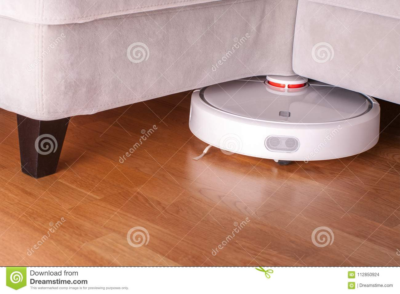 Sofa Vacuum Cleaner Brush Robotic Vacuum Cleaner Runs Under Sofa In Room On Laminate Floor