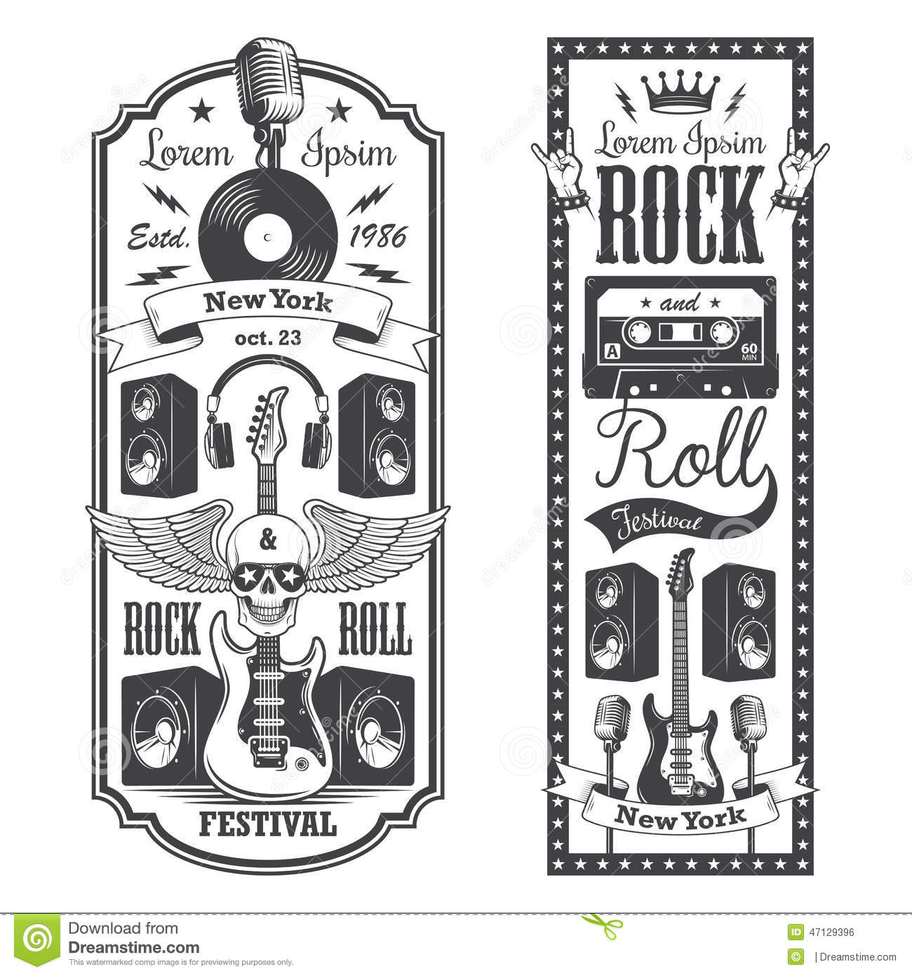 Rock Music Cover 2 Rock And Roll Music Flayer Covers Stock Vector Illustration