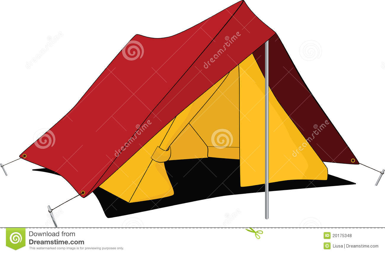 Canvas Vakanties Rode Tent. Beeldverhaal Vector Illustratie. Illustratie