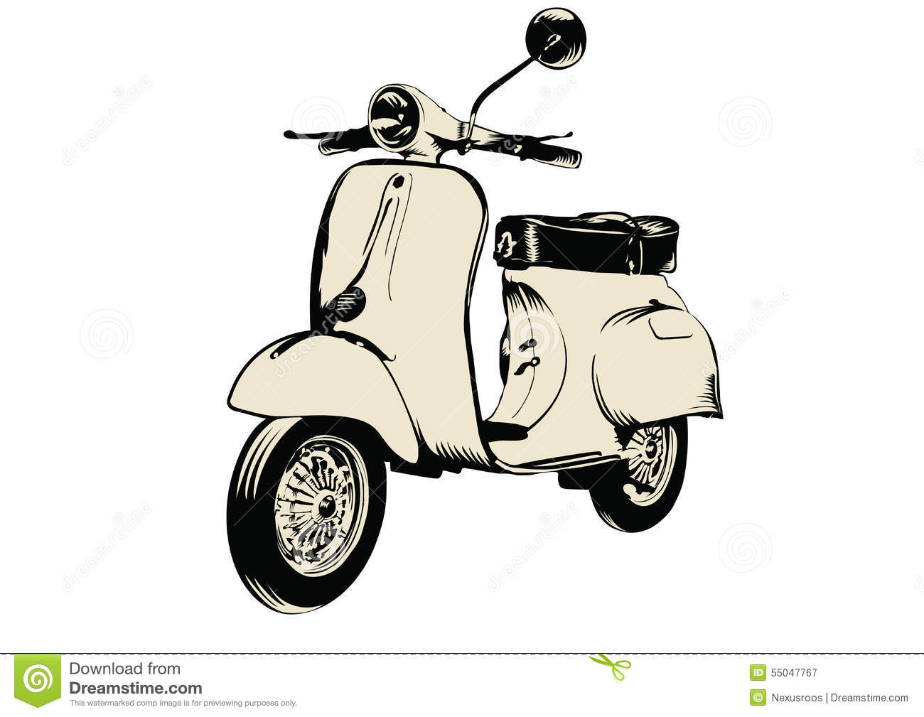 Vespa Roller Oldtimer Roller Stock Vector Illustration Of Vintage Motorroller 55047767
