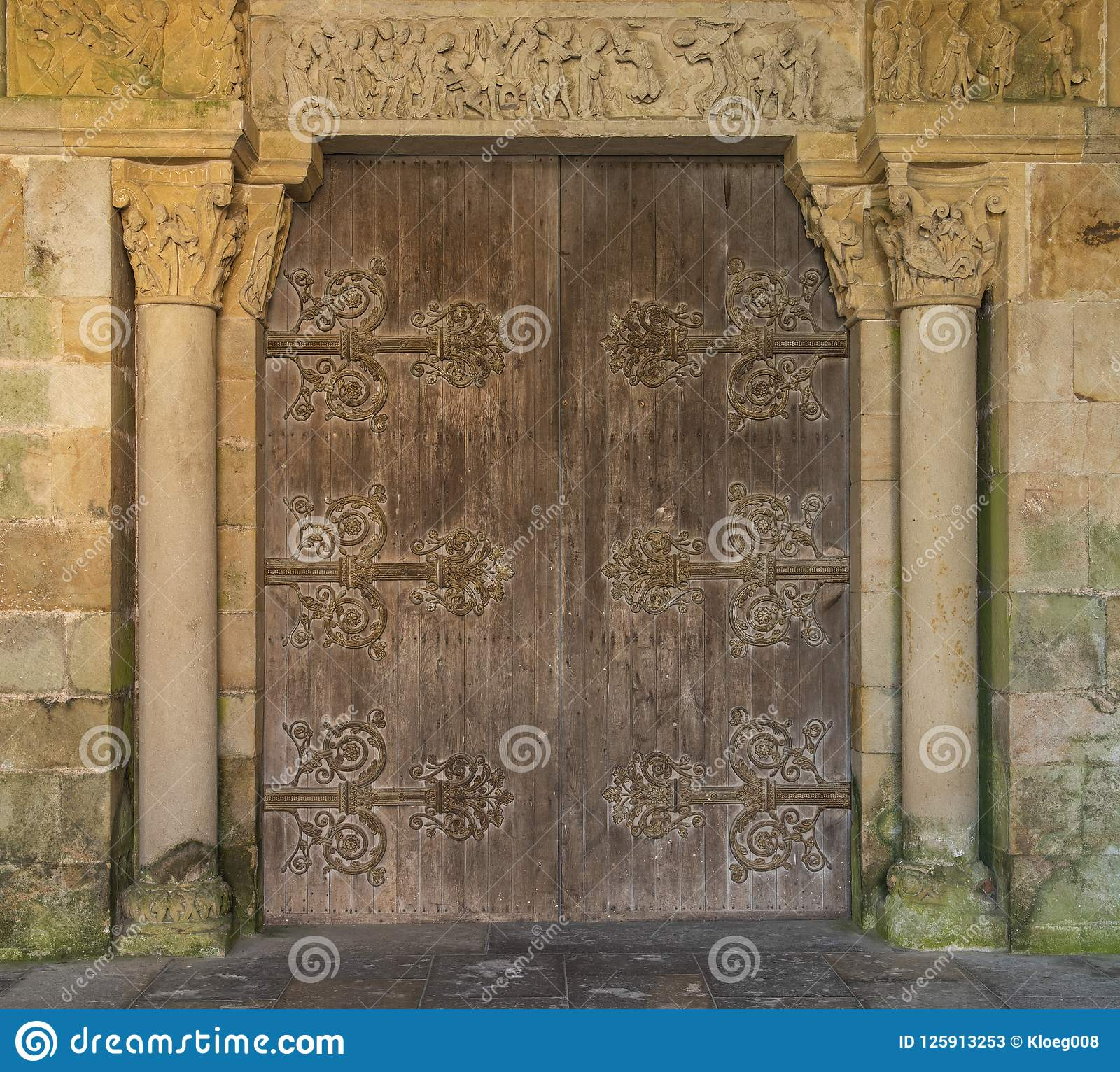 Pierre Bourgogne Church Door In Perrecy Les Forges France Stock Image Image Of
