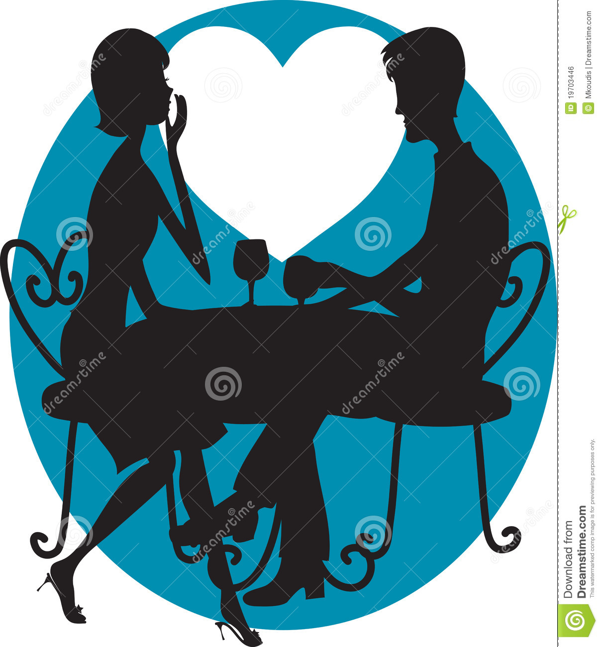 Night Table Clipart Romantic Couple Silhouette Stock Vector Illustration Of