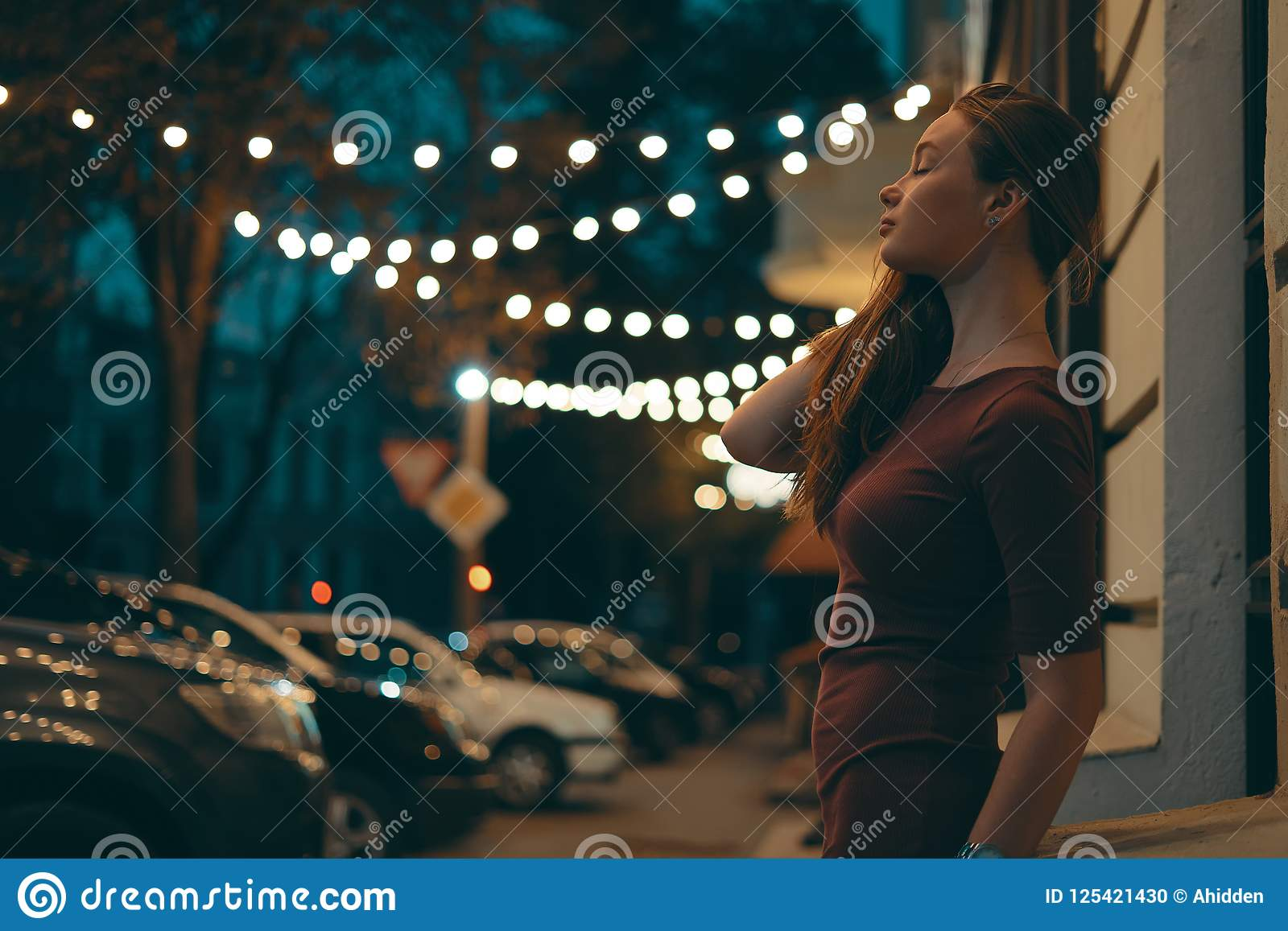 Girl Night Lights Romantic Female Portrait With City Lights In Background Stock