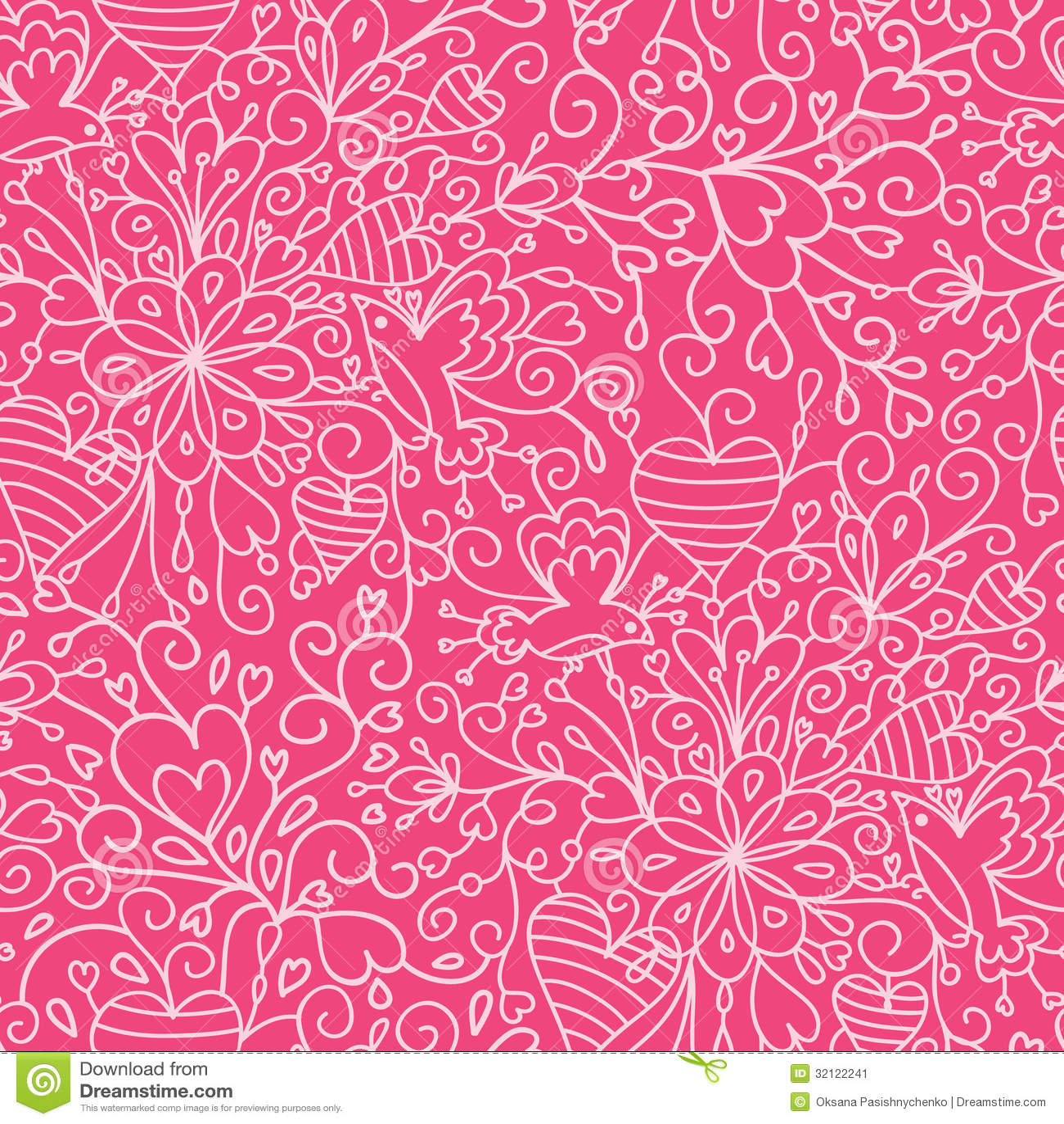 Animal Print Pink Wallpaper Romantic Garden Seamless Pattern Background Stock Vector