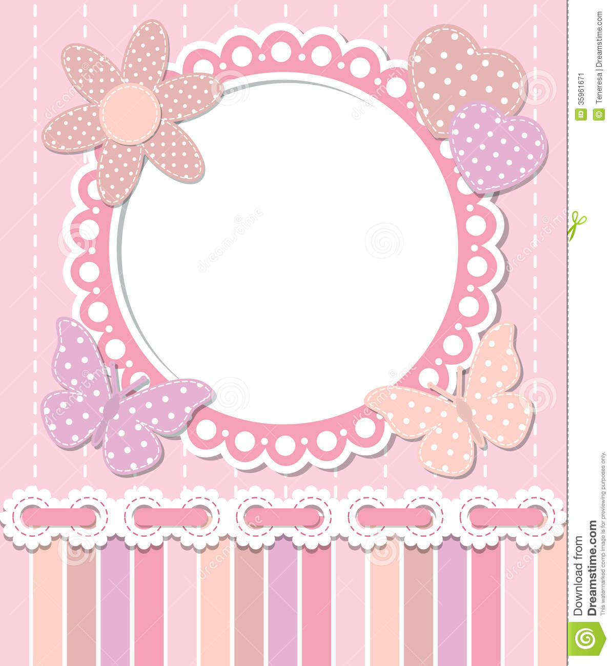 Cute Bordered Pastel Flower Wallpaper Romantic Pink Frame Stock Vector Illustration Of Abstract