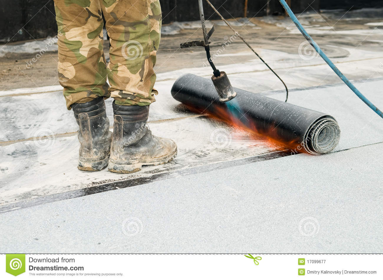 Roofing Tar Roofing With Tar Felt And Blowpipe Stock Image Image Of Flat
