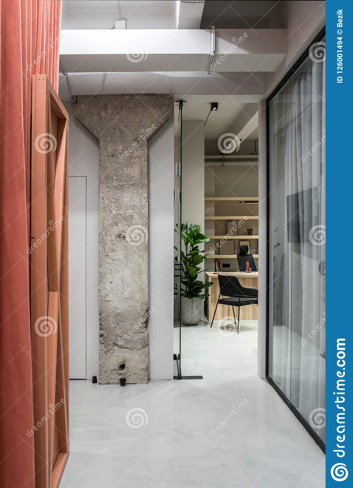 Concrete Rooms Stylish Interior In Loft Style With Gray Walls Stock Photo Image