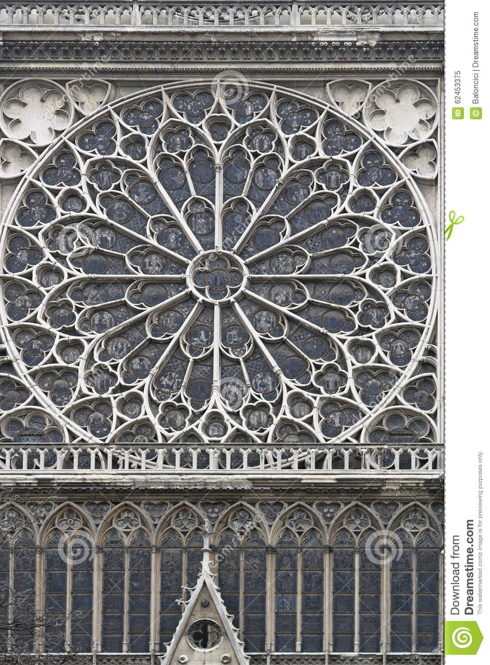 Rose Window Notre Dame Stock Photo