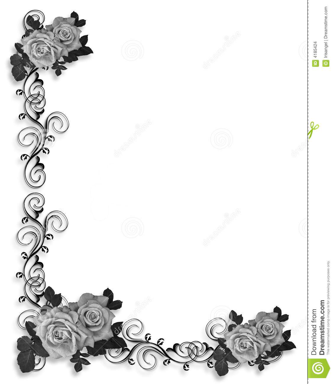 Roses Border In Black And White Stock Illustration - Illustration of