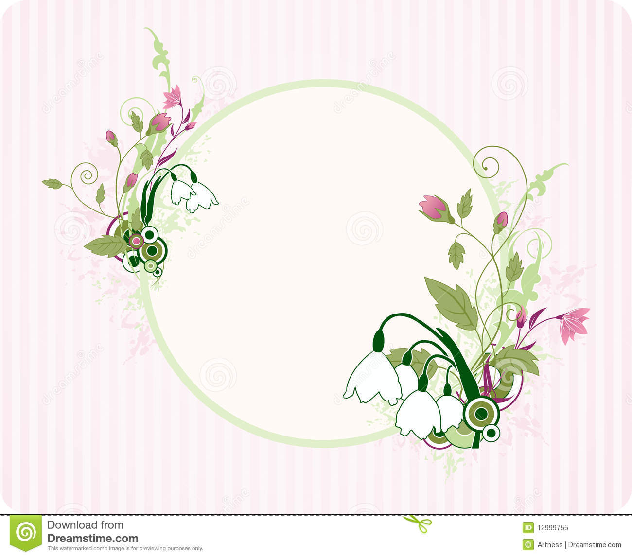 House Doctor Ornament Dreams Round Banner With Floral Ornament Royalty Free Stock Photo