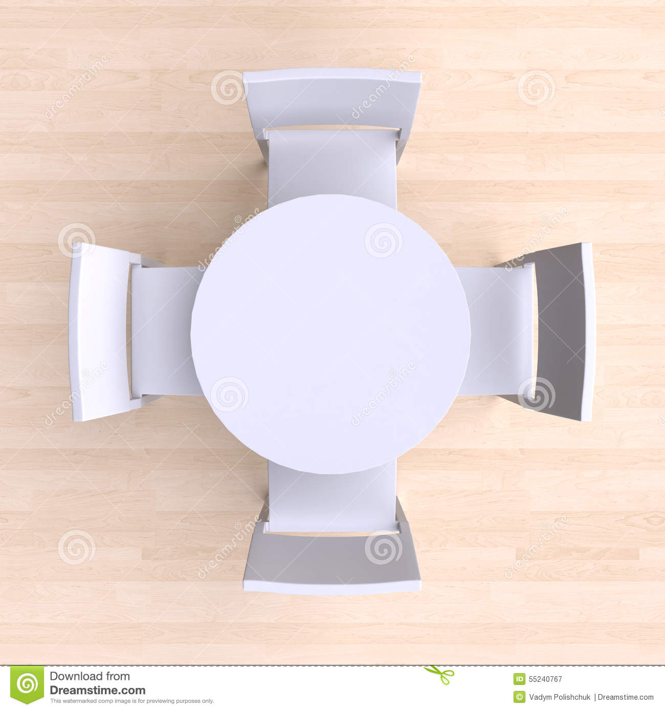 Table and chairs top view - Business Meeting In Top View Round Table With Four Chairs Royalty Free Stock Photography