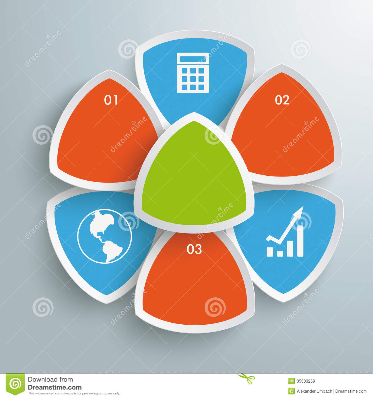 Round triangles flower infographic piad royalty free stock