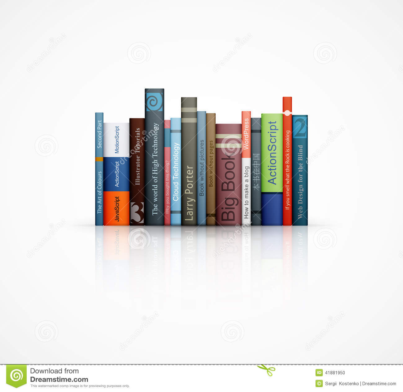 Row Of Books Vector Row Of Books On White Background Stock Vector Image