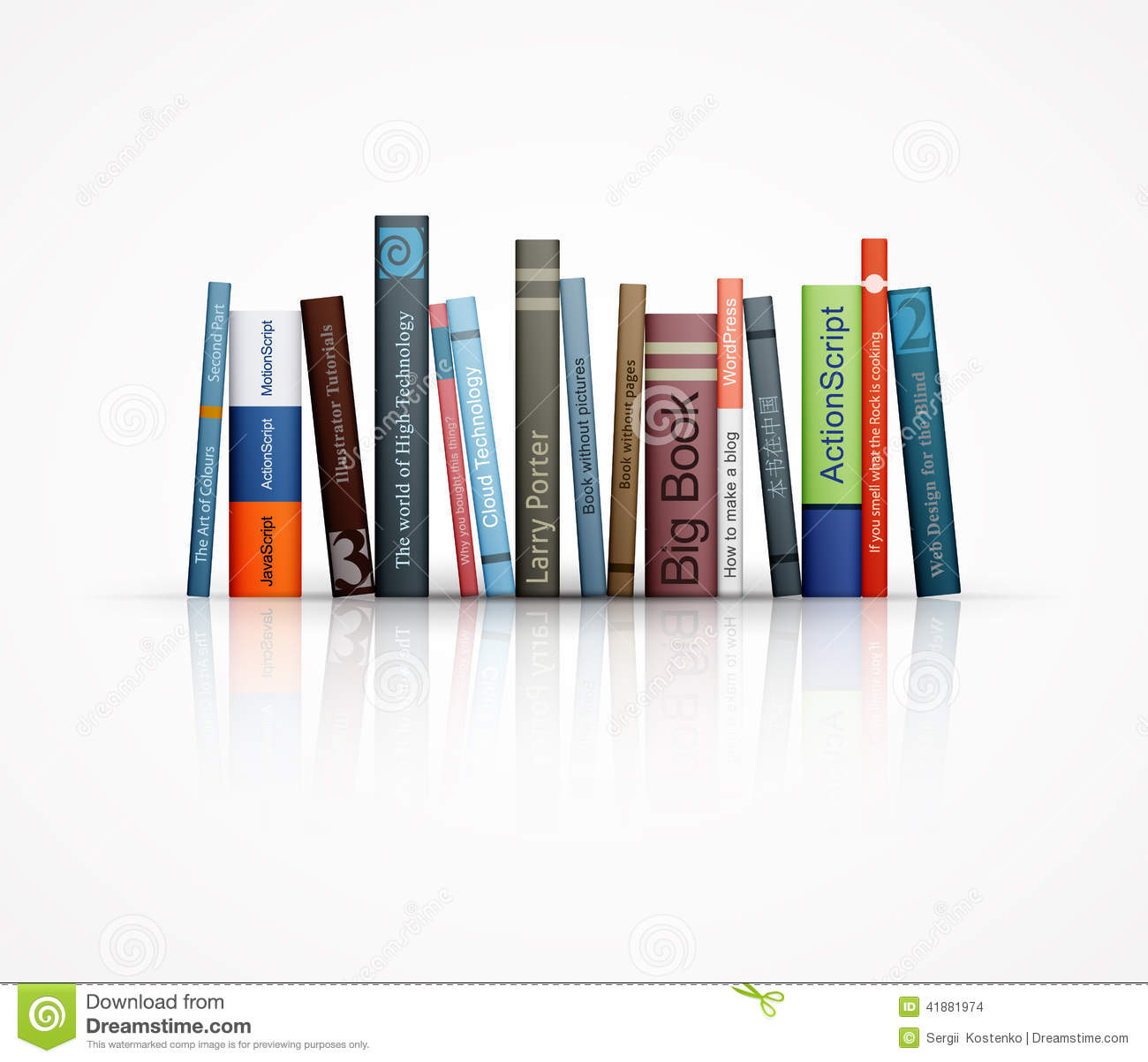 Row Of Books Vector Row Of Books On White Background Stock Vector