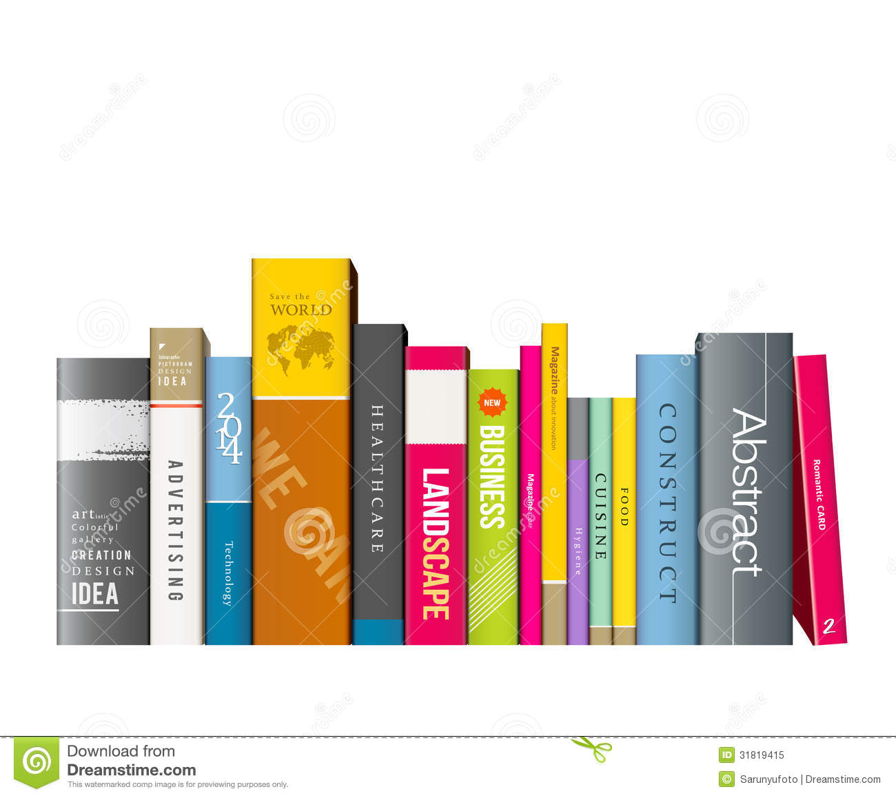 Row Of Books Vector Row Of Colorful Books Royalty Free Stock Photo Image