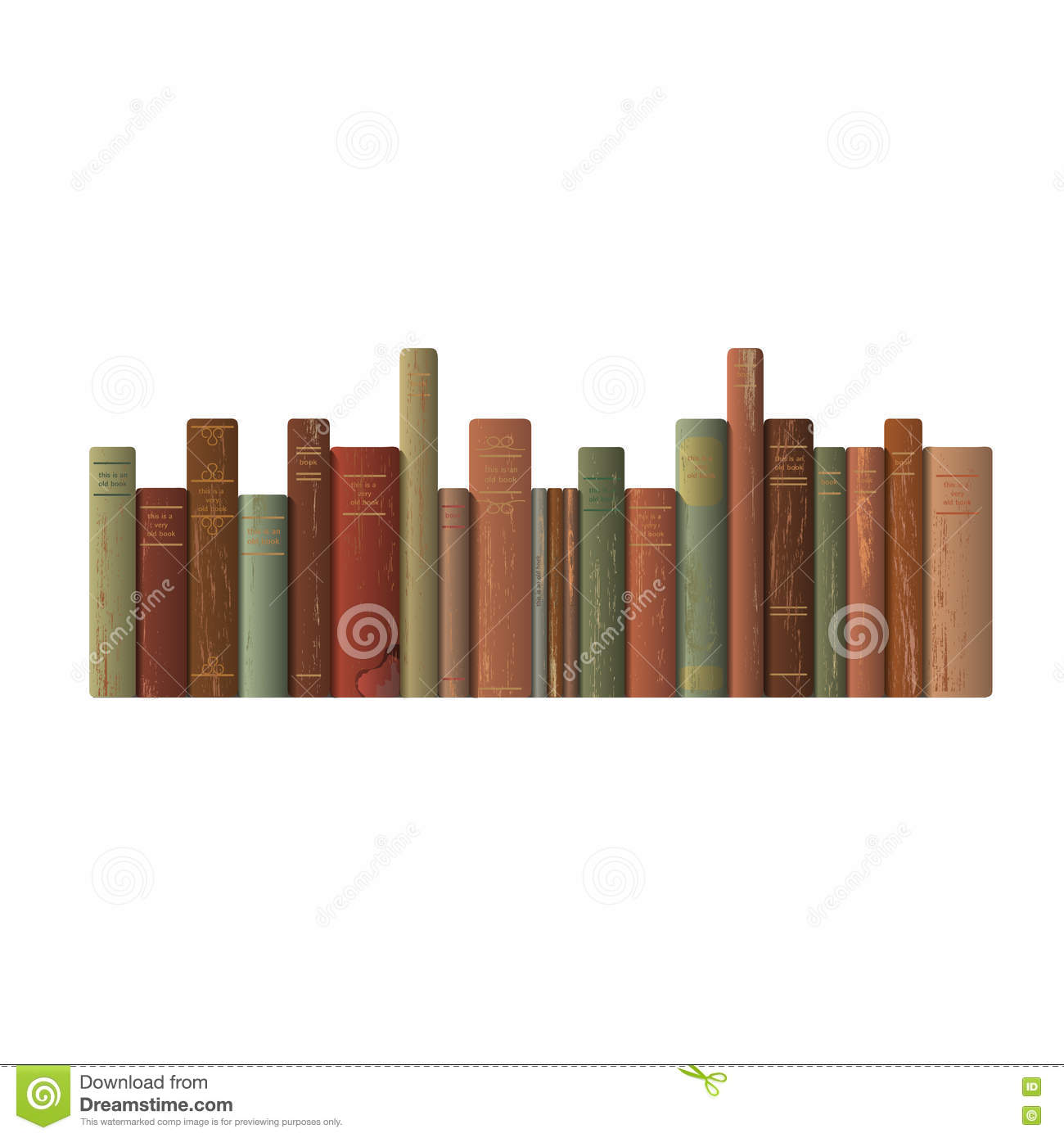 Row Of Books Vector A Row Of Old Books Stock Vector Image 71779546