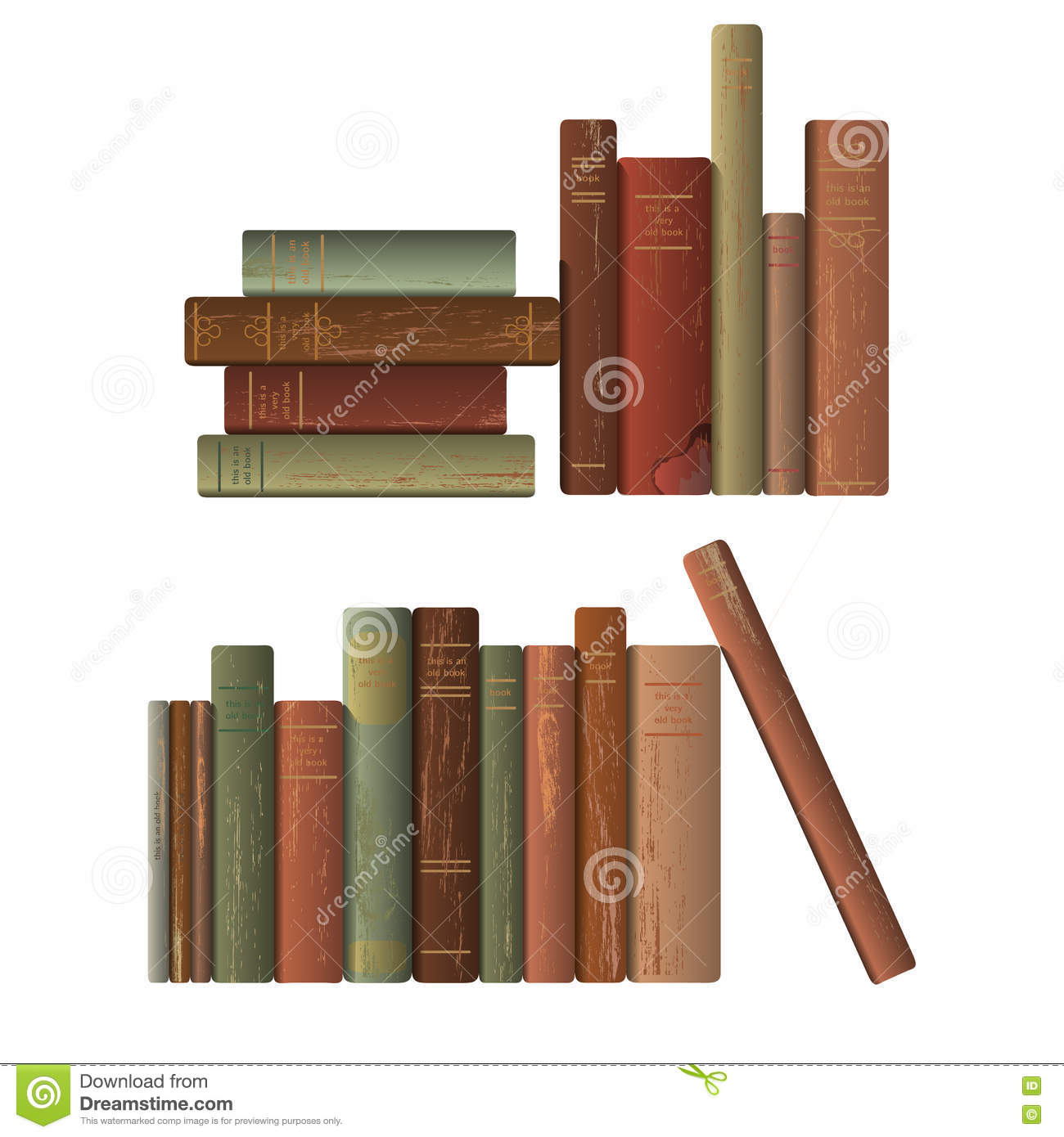 Row Of Books Vector Rows Of Old Books Stock Vector Illustration Of Damaged