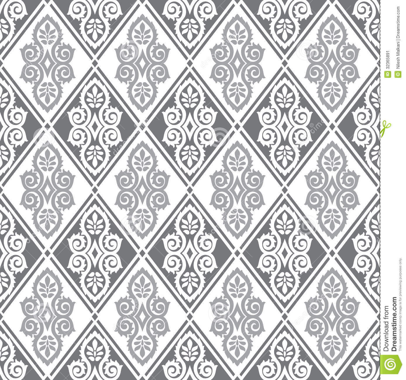 Black And Silver Floral Wallpaper Royal Seamless Wallpaper Stock Image Image 32365891