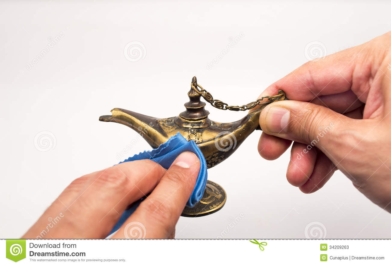 Messing Polieren Rubbing Magic Lamp Stock Photos - Image: 34209263