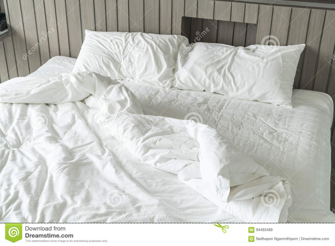 White Decoration Bedroom Rumpled Bed With White Messy Pillow Decoration In Bedroom Stock