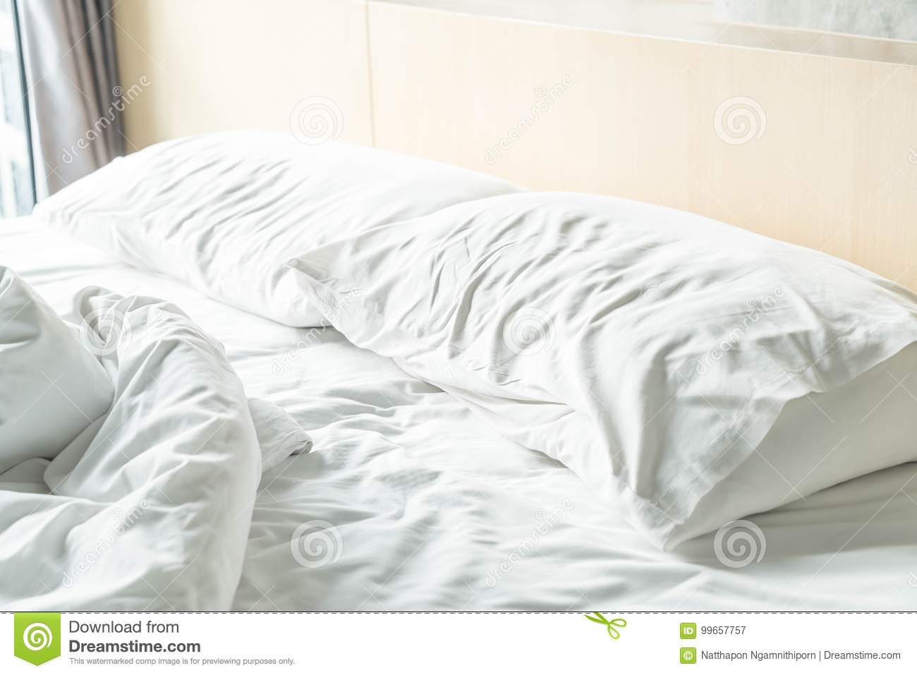 White Decoration Bedroom Rumpled Bed With White Messy Pillow Stock Image Image Of Sheet
