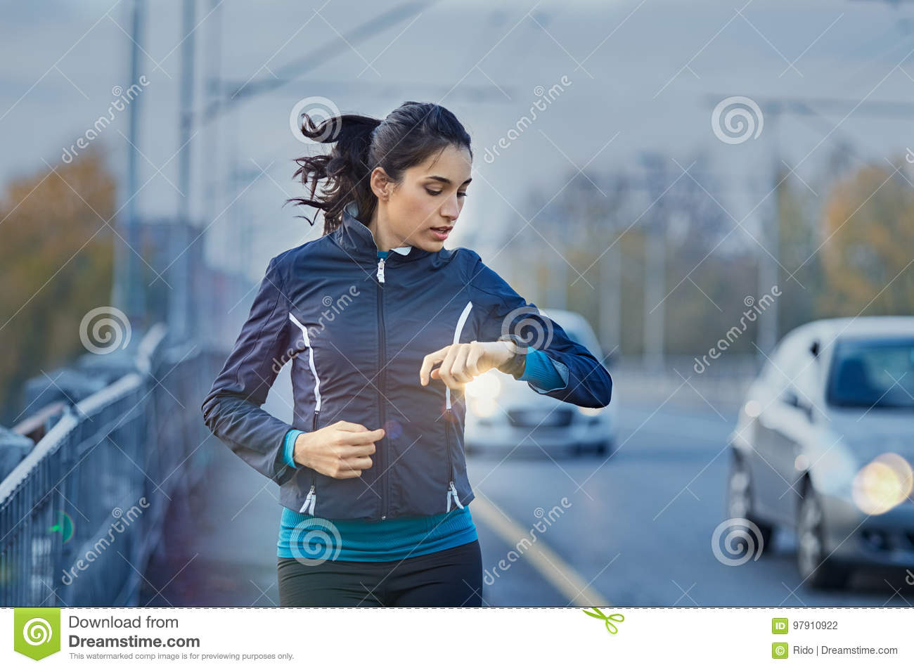 Jogging Run Time Runner Checking Time Stock Photo Image Of Athlete Training