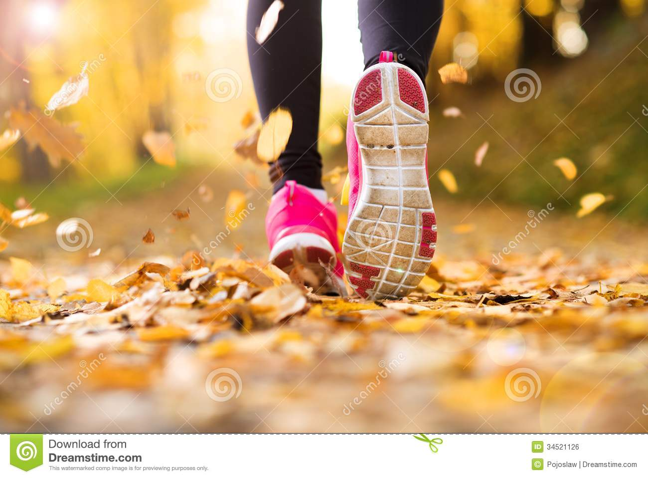 Pink Fall Wallpaper Runner Stock Photo Image Of Lifestyle Jogging Pink