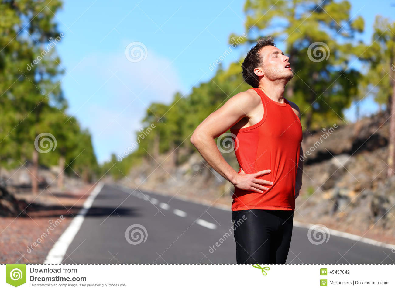 Running Jogging Music Download Runner Resting Tired Exhausted After Running Stock Photo