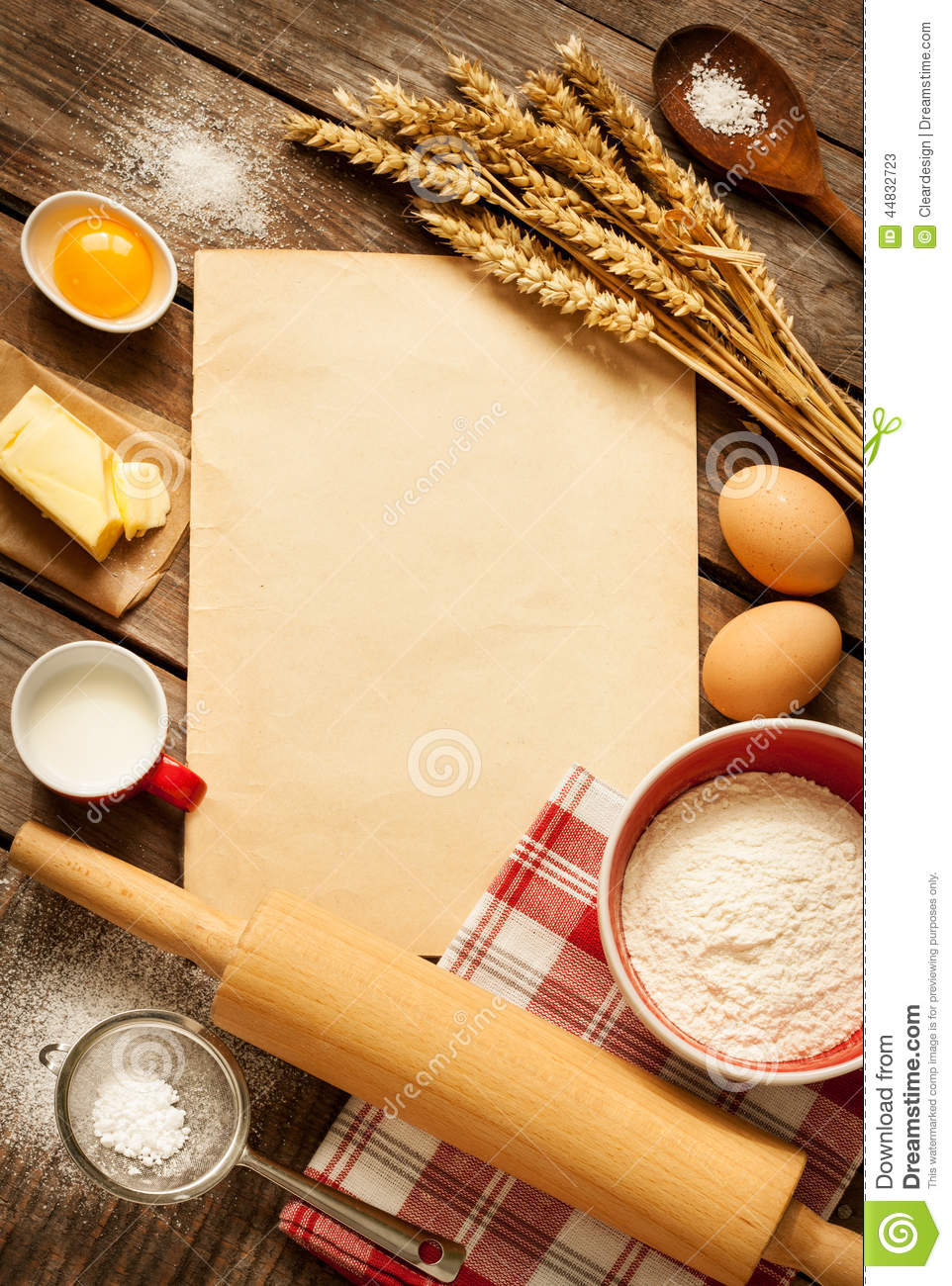 Bakery Wallpaper Hd Rural Kitchen Baking Cake Ingredients And Blank Paper