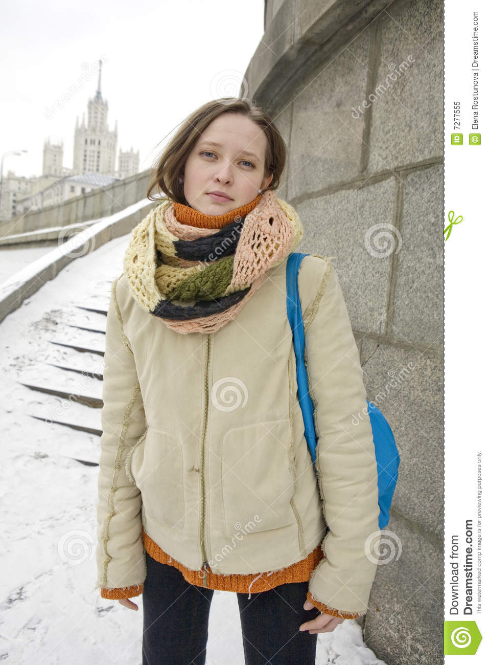 Village Girl Photo Wallpaper Russian Girl Outdoors In The Street In Winter Time Royalty