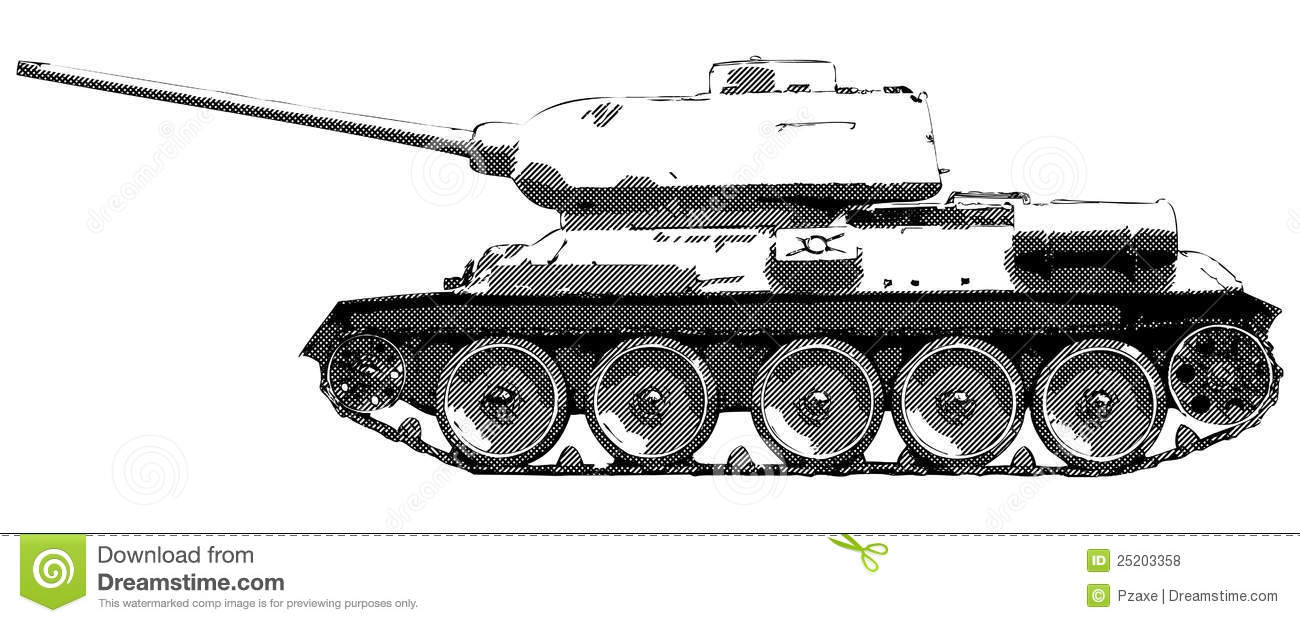 German Car Wallpaper Russian Tank T 34 Vector Drawing Stock Vector