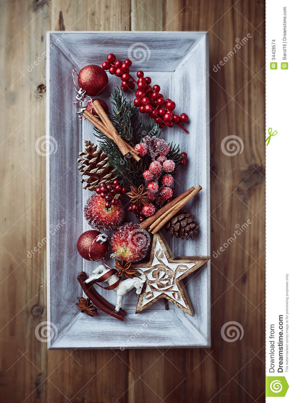 Decorating Styles Rustic Christmas Decorations On A Wooden Tray Stock Images