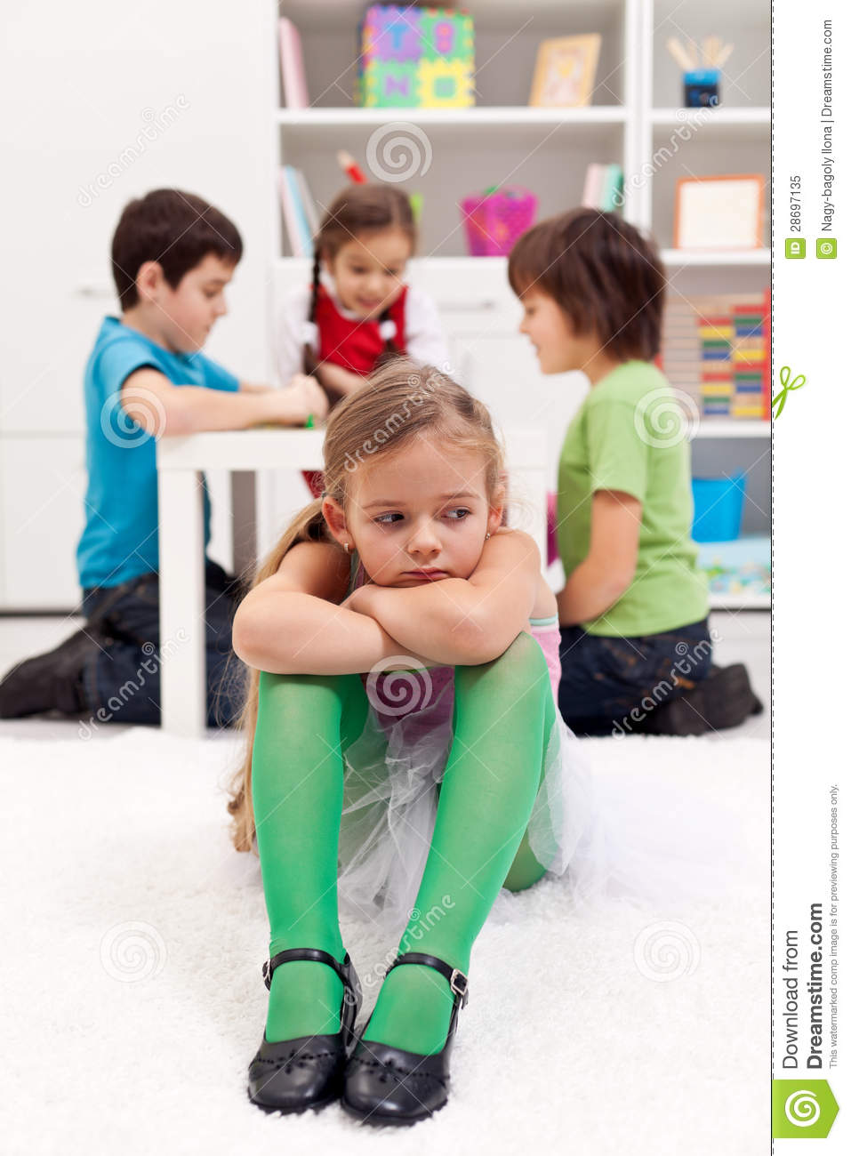 Feeling Sad Girl Wallpaper Sad Little Girl Sitting Excluded By Friends Stock Image