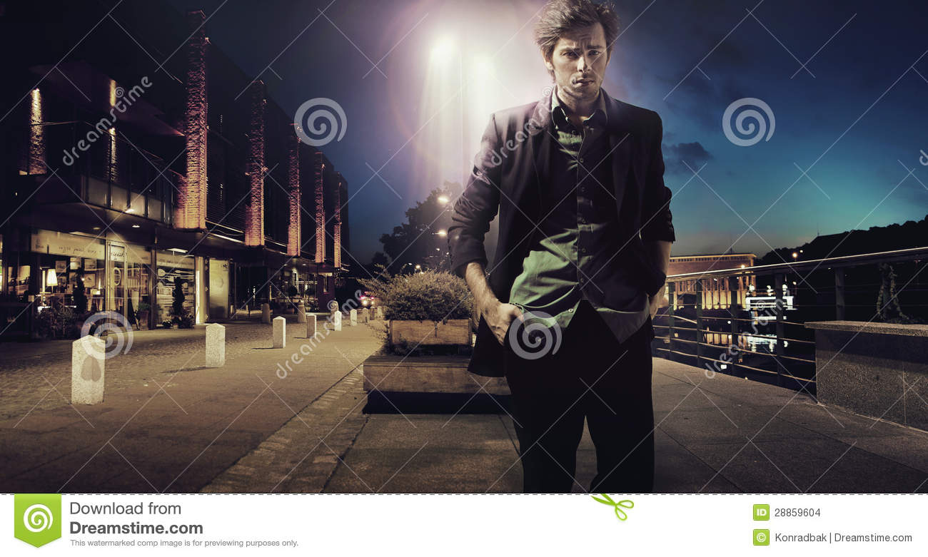 Download Sad Girl In Snow Wallpaper Sad Man Walking Alone At The Night Stock Images Image
