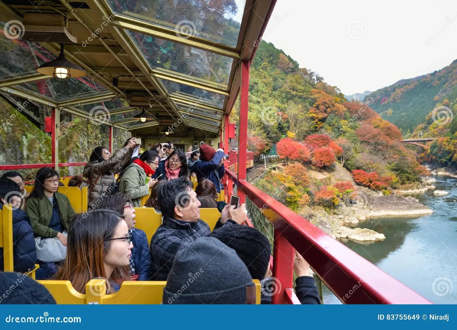 Scenic Fall Wallpaper Sagano Romantic Train Kyoto Japan Editorial Stock Image