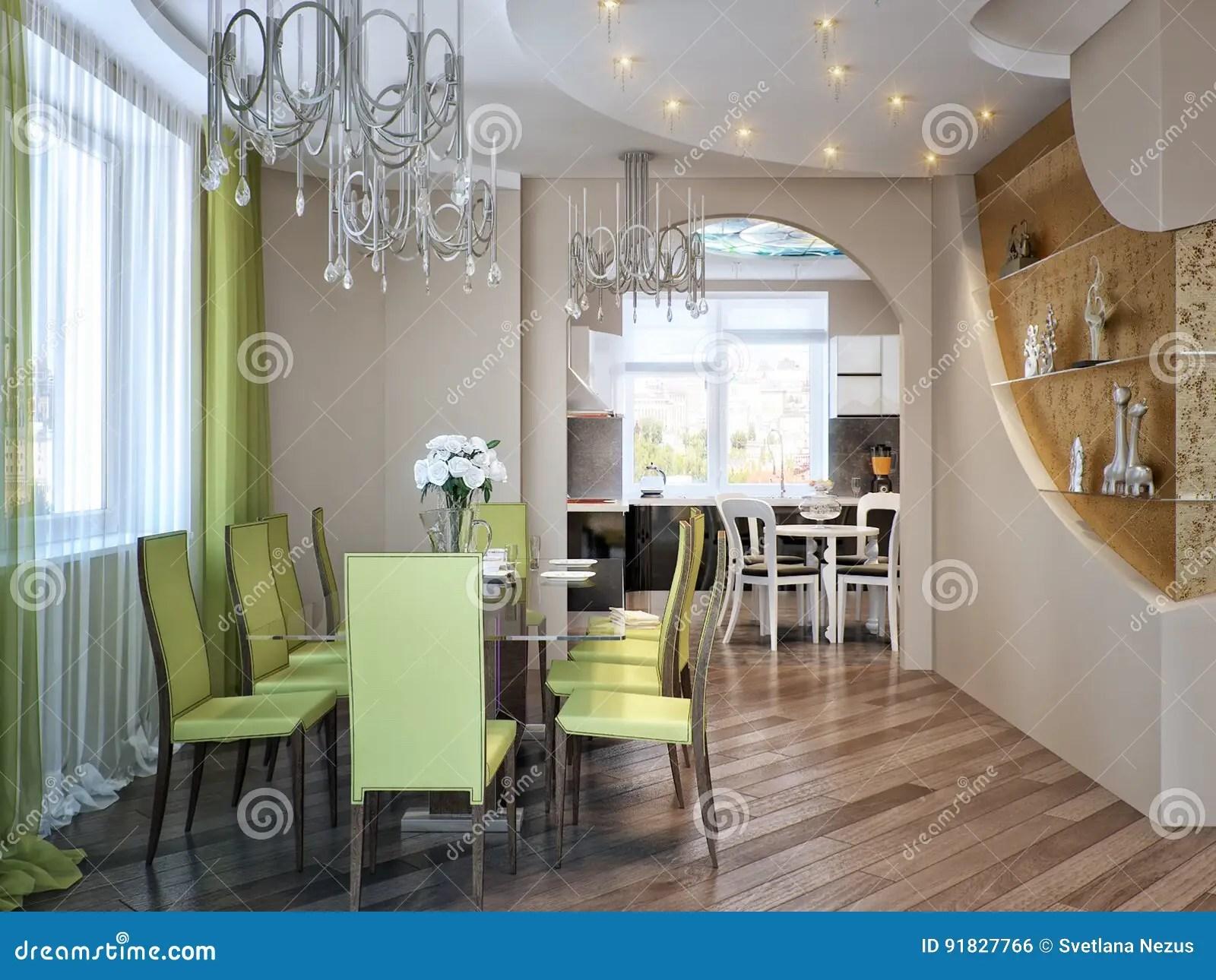 Cucina Sala | Sala Da Pranzo Con La Vista Della Cucina Immagine ...